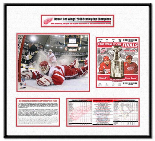 Detroit Red Wings -chris Osgood Game 6 Save - 2008 Stanley Cup Champions Ticket Frame
