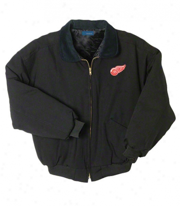 Detroit Red Wings Jerkin: Black Reebok Saginaw Jacket