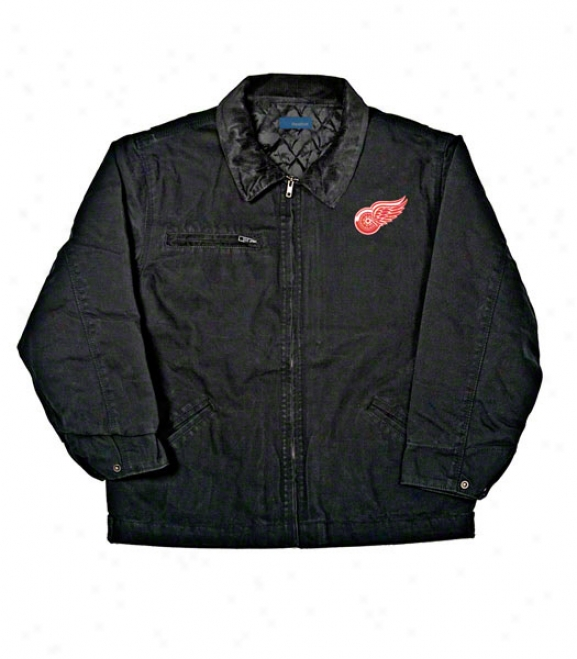 Detroit Red Wings Jerkin: Black Reebok Tradesman Jacket