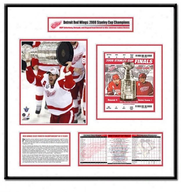 Detroit Red Wings -mvp Henrik Zetterberg With Stanley Cup - 2008 Stanley Cup Champions Ticket Frame