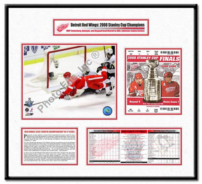 Detroit Red Wings -valtteri Filppula Game 2 Goal - 2008 Stanley Cup Champions Ticket Frame