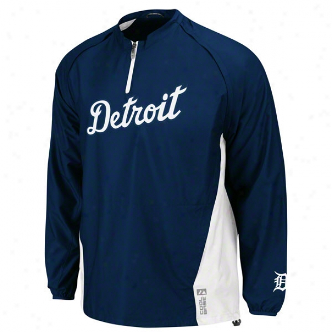 Degroit Tigers Authentic Collection Cool Baseã¢â�žâ¢ Navy Triple Top  Gamer Jacket