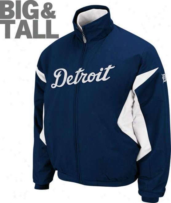 Detroit Tigers Big & Tall Authentic Collection Navy hTerma Base Triiple Grow thin Premier Jacket