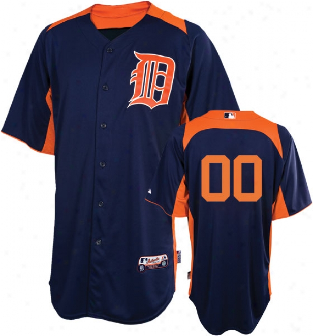 Detroit Tigers Jersey: Any Number Authentic Navy/orange On-field Batting Practice Jersey