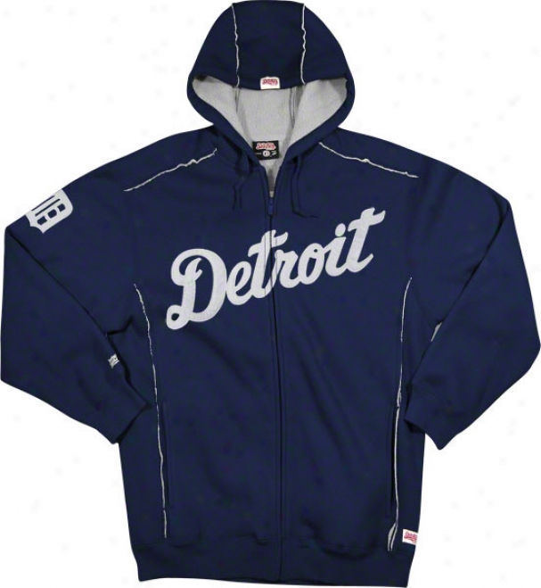 Detroit Tigers Navy Grand Slam Full-zip Sherpa Lined Thermal Hooded Jerkin