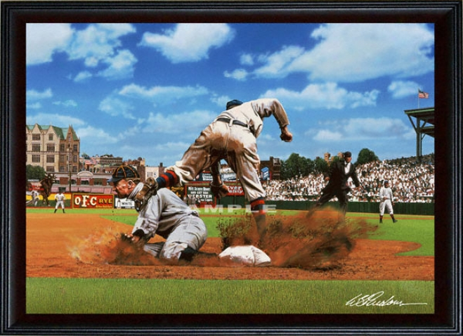 Dertoit Tigers - &quotty On Third&quot - Large - Framed Giclee