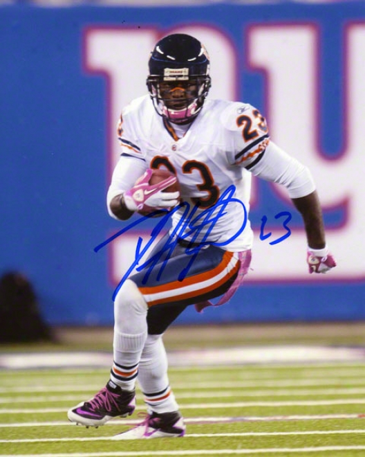 Devin Hester Autographed 8x10 Photograph  Details: Chicago Bears, Pink Cleats And Gloves