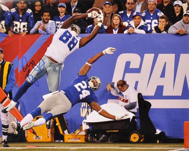 Dez Bryant Autographed 16x20 Photograph  Details: Dallas Cowboys, Jump Vs. New York Giants