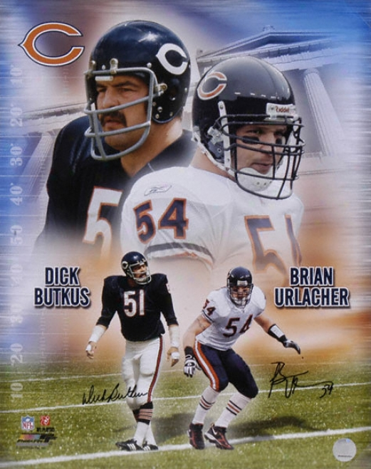 Dick Butkus And Brian Urlacher Chicago Bears - Collage - Autographed 16x20 Photograph