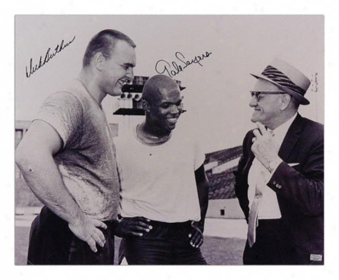 Dick Butkus And Gale Sayers Chicago Bears Dual Autographed 16x20 Photograph
