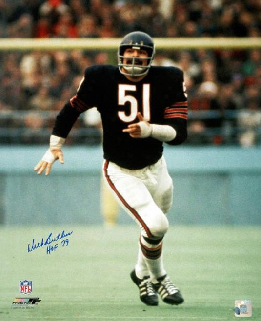 Dick Butkus Chicago Bears - Action - Autographed 16x20 Photograph With Hof 79 Inscription