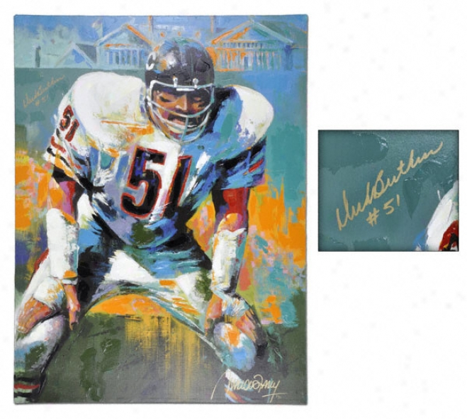 Dick Butkus Chicago Bears Auotgraphed 36x40 Giclee