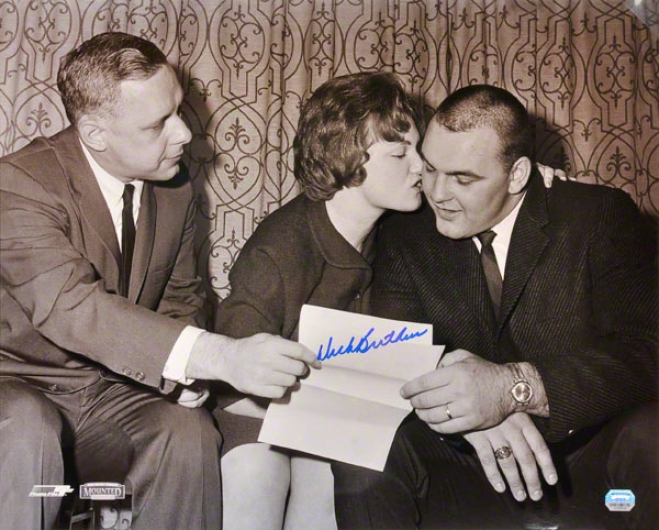 Dick Butkus Chicago Bears B & W 16x20 Autographed Photograph Of Contract Sihning