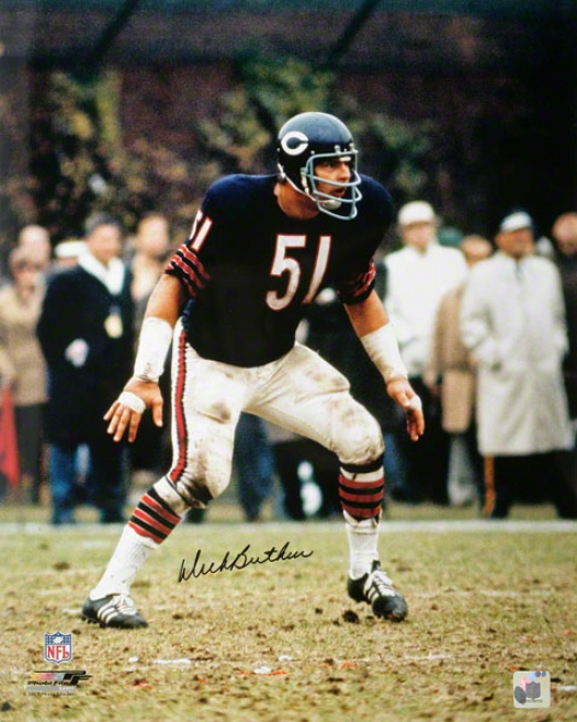 Dick Butkus Chicago Bears - Blue Jersey - 16x20 Autographed Photograph