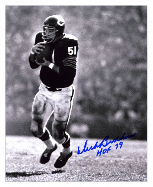 Dick Butkus Chicago Bears -intercepting- Autographed 8x10 Photograph With Hof 79 Inscription
