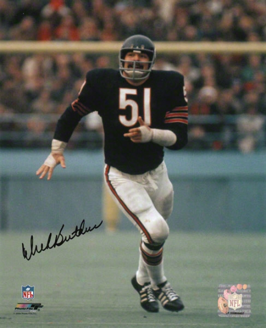 Dick Butkus Chicago Bears - Running In Blue Jersey - 8x10 Autographed Photograph