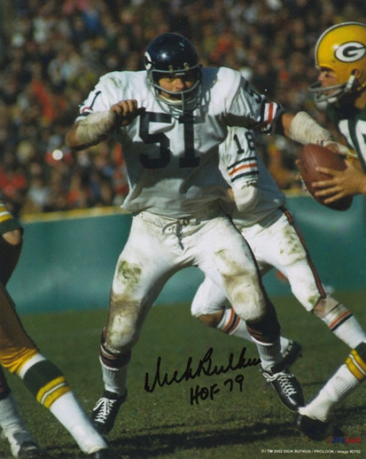 Dick Butkus Chicago Bears - Running In White Jersey - Autographed 8x10 Photograph With Hpf 79 Inscription