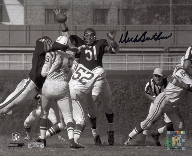 Dick Butkus Chicago Bears - Swatting Unitas Pass - Autographed 8x10 Photograph