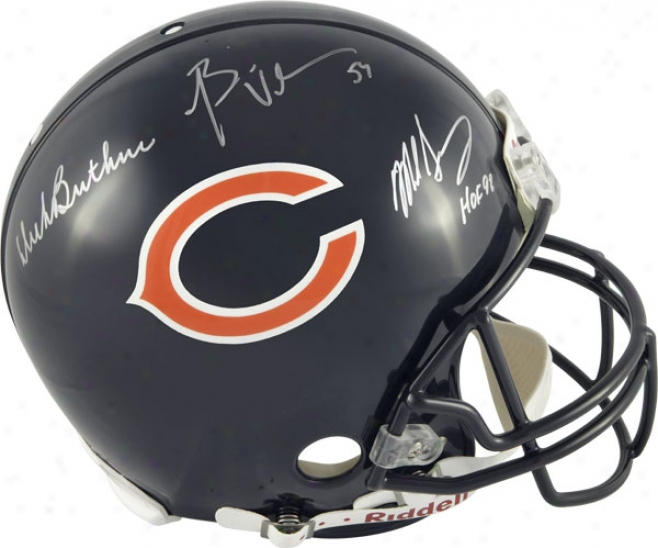 Dick Butkus, Mike Singletary And Brian Urlacher Autotraphed Pro-line Helm  Details: Chicago Bears, Authentic Riddr1l Helmet