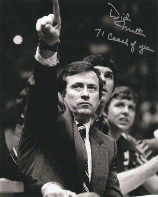 Dick Motta Chifago Bulls Autographed 8x10 Photograph With 71 Coach Of Year Inscription