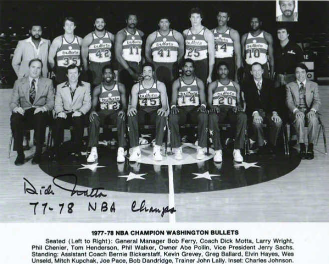 Dick Motta Washington Bullets Autographed 8x10 Photograph With 77-78 Nba Champs Inscription