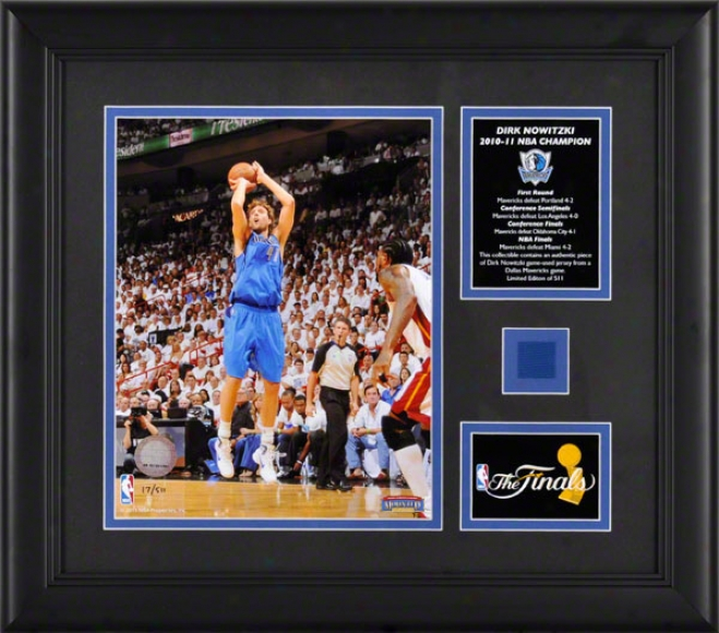 Dirk Nowitzki Framed Photograph  Details: Dallas Mavericks, 2011 Nba Champions, 8x10 In the opinion of Game Used Jersey And Plate
