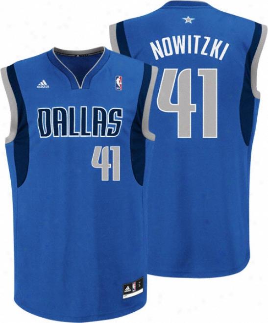 Dirk Nowitzki Jersey: Adidas Revolution 30 Blue Replica #41 Dallas Mavericks Jersey