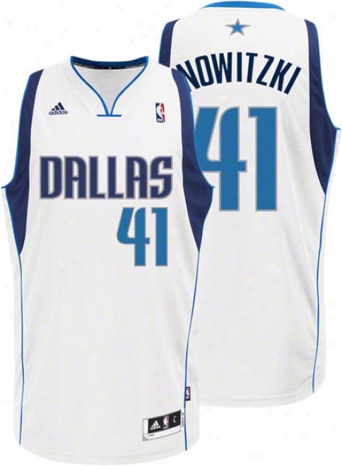 Dirk Nowitzki White Adidas Revolution 30 Swinfman Dallas Mavericks Jersey