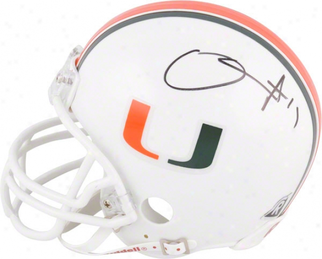 D.j. Williams Autographed Mini Helmet  Details: Miami Hurricanes