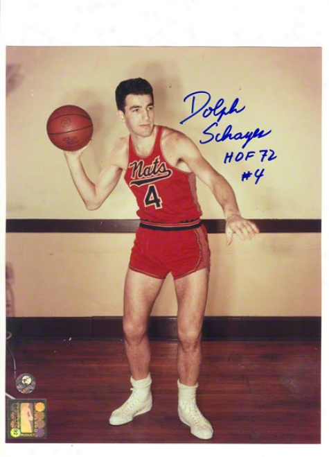 Dolph Schayes Autographed Syracuse Nationals 8x10 Photo Inscribed &quothof 72&quot