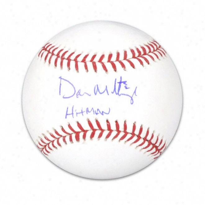 Put on Mattingly Autographed Baseball  Details: Hitman Inscription
