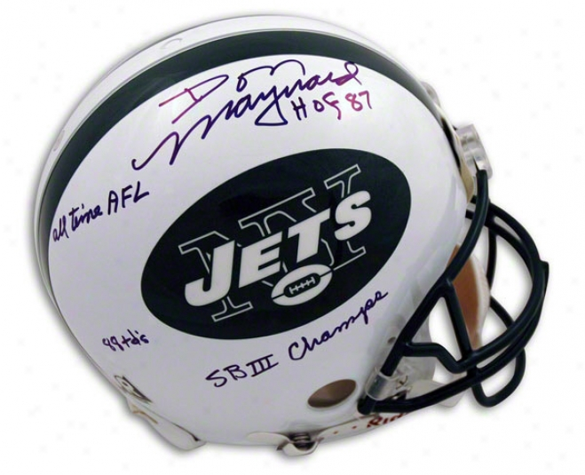 Don Maynard Autogaphed Pro-line Helmet  Details: New York Jets, With Hof '87, All Time Afl, 88 Tds, And Sb Iii Champs Inscriptions