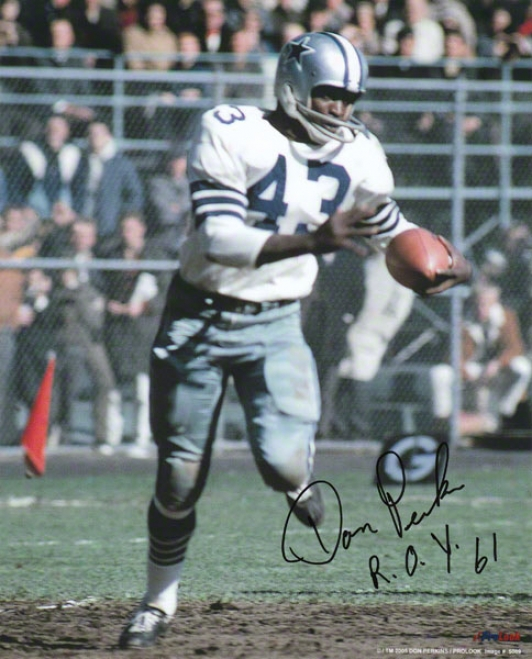 Don Perkins Dallas Cowboys - Action - Autographed 8x10 Photograph In the opinion of Roy 61 Inscription