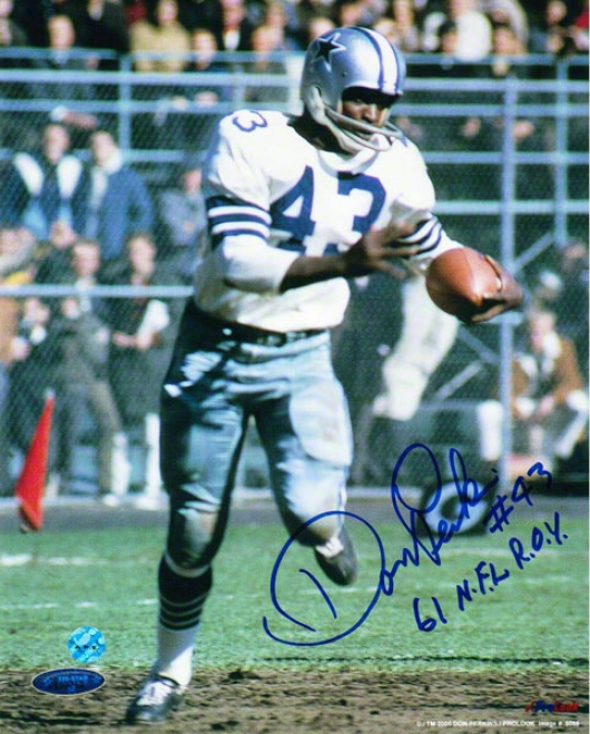Don Perkins Dallas Cowboys Autographed 8x10 Photo Running With The Ball Inscribed 61 Nfl Rky