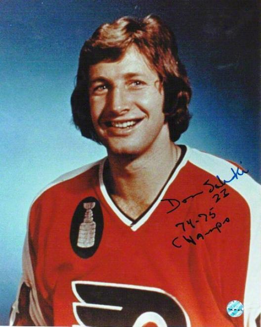 Don Saleski Autographed Philadelphia Flyers 8x10 Photo Inscribed &quot74-75 Champs&quot