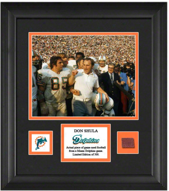 Don Shula Framed 8x10 Photograph  Details: Miami Dolphins, With Game Used Football Part And Descriptive Plate