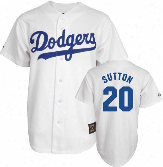 Put on Sutton White Majestic Cooperstown Throwback Los Angeles Dodgers Jersey