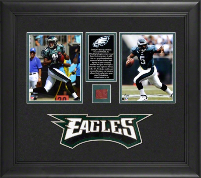 Donovan Mcnabb And Brian Westbrook Philadelphia Eagles Framed Photographs With Game Used Football