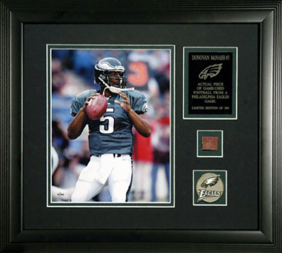 Donovan Mcnabb Philadelphia Eagles Framed 8x10 Photograph With Game Used 2005 Football