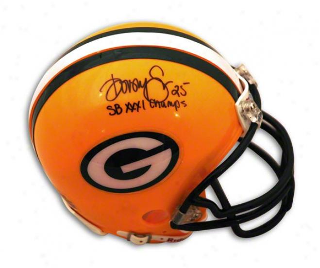 Dorsey Levens Green Bay Pacckers Autographed Mini Helmet Inscribed Sb Xxxi Champa