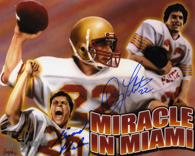 Doug Flutie And Gerald Phelan Boston College Eagles Autographed 8x10 Art &quotmiracle In Miami&quot Collage
