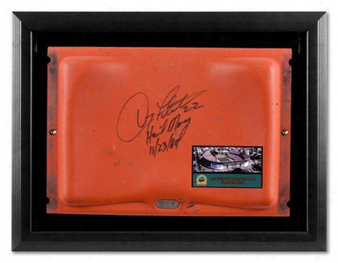 Doug Flutie Autographed Orange Bowl Seat In Black Framed Shadowbox W/ Inscription &quothail Mary 11/23/84&quot