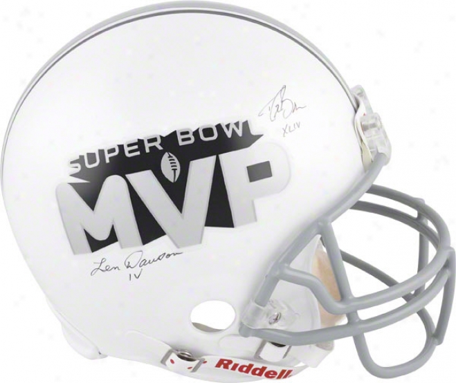Drew Brees And Len Dawson Autographed Helmet  Details: Super Bowl Mvps