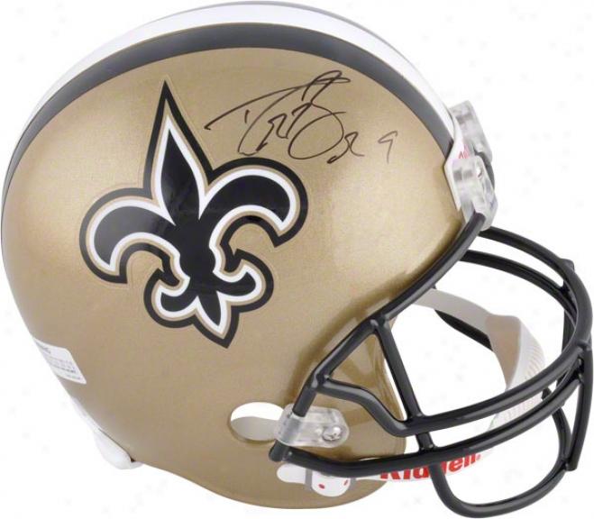Drew Brees Autographed Helmet  Details: New Orleans Saints, Riddell Replica Helmet
