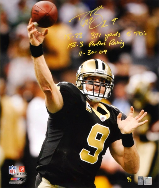 Drew Brees Autographed Photograph  Details: New Orleans Saints, 20x24, 5 Inscriptions