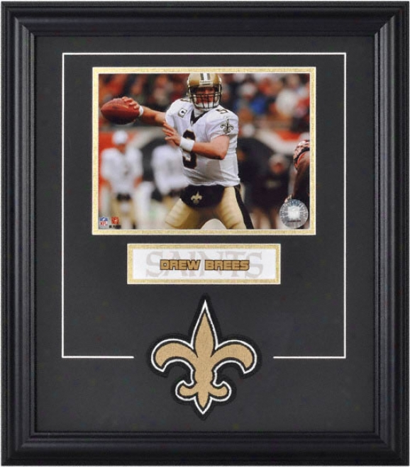 Drew Brees Framed 6x8 Photograph With Team Logo & Plate