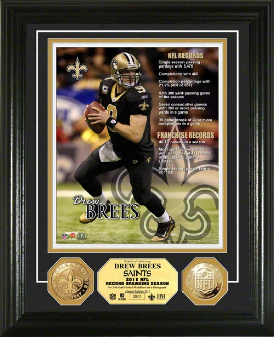 Drew Brees New Orleans Saints 2011 Records Photo Mint