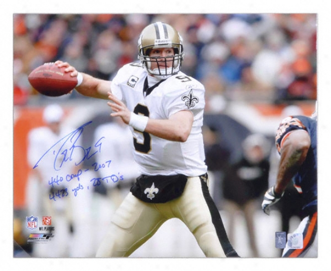 Drew Brees New Orleans Saints Autographed 16x20 Photo Wlth 440 Completions 2007, 4423 Yards And 28 Touchdowns Inscriptions