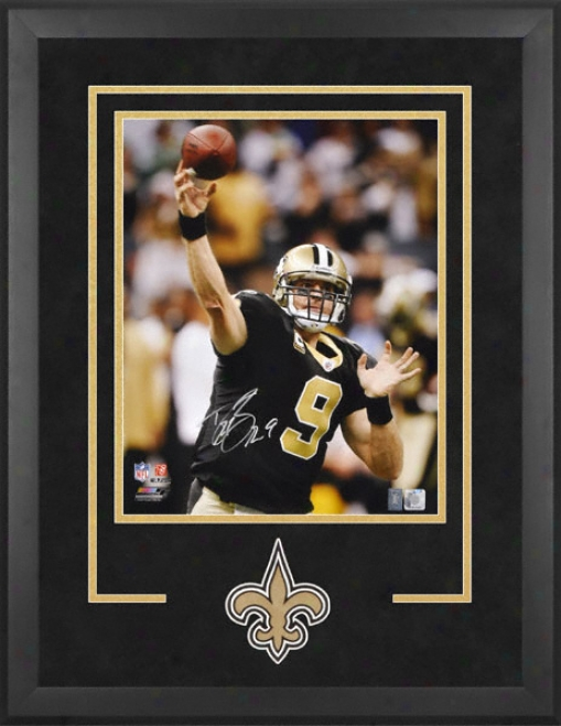 Drew Brees Starting a~ Orleans Saints Deluxe Framed Autographed 16x20 Phogogrsph With Team Logo And Nameplate