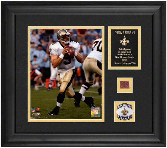 Drew Brees Ne Orleans Saints Framed 8x10 With Team Medallion And Nameplate